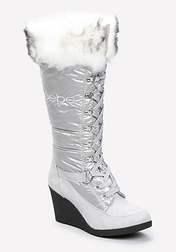 bebe Rhea Puffy Logo Boots