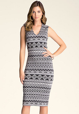 bebe Tribal V-Neck Sweater Dress