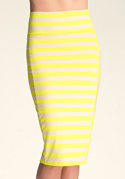 bebe Print Stripe Midi Skirt