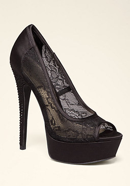 bebe Madelyn Lace Peeptoe Pumps