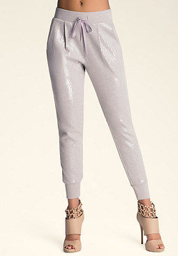 bebe Sequin Harem Pants