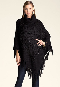 bebe Sequin & Fringe Poncho