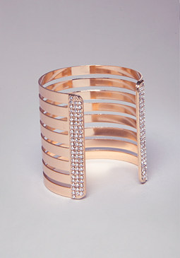 Metal & Rhinestone Cuff at bebe