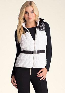 bebe Bonded Lace Puffer Vest