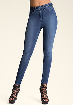 bebe High-Waist Belted Jeans