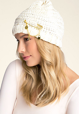 bebe Coated Beanie with Pin