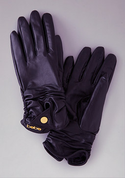 Short Leather Gloves at bebe