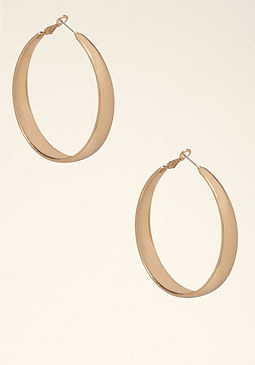 bebe High Shine Hoop Earrings