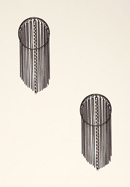 bebe Circle Fringe Hoop Earrings