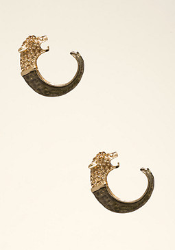 bebe Lion Head Hoop Earrings