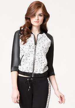 bebe Logo Striped Lace Jacket