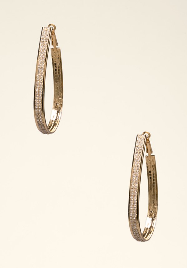 Super-cool teardrop hoop earrings glitter with luxe crystals. Omega closure.