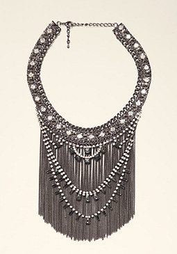 Crystal & Fringe Necklace at bebe