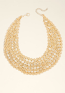bebe Stone & Chain Bib Necklace