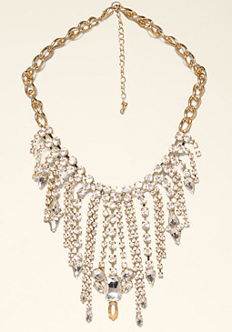 bebe Rhinestone Fringe Necklace