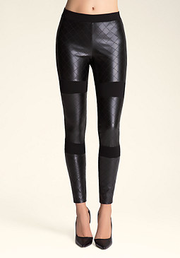 bebe Faux Leather Quilt Leggings