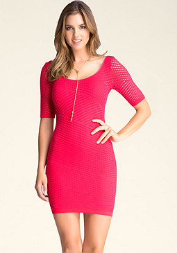 bebe Elbow Sleeve Mini Dress