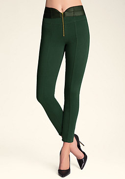 bebe Zip Front Mix Jeggings