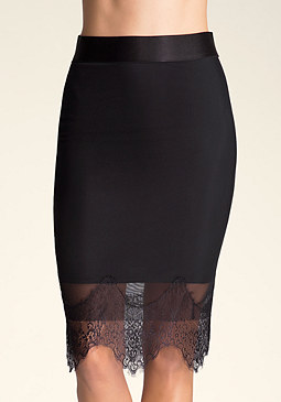 bebe Lace Trim Power Mesh Skirt