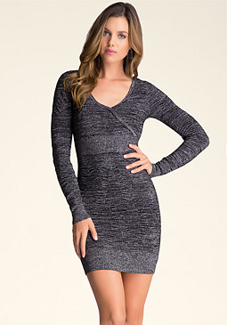 bebe Shirred Detail Dress