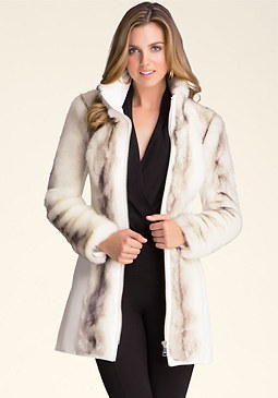 bebe Long Faux Fur Coat
