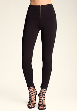 bebe Banded Front Zip Leggings