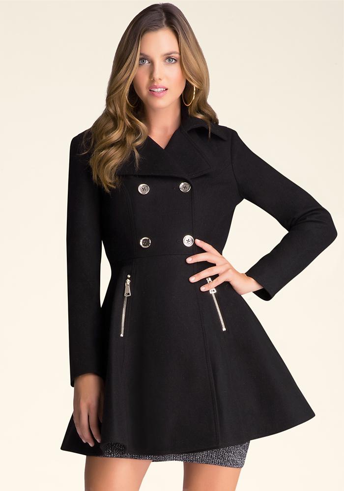 Wool Flared Coat   bebe