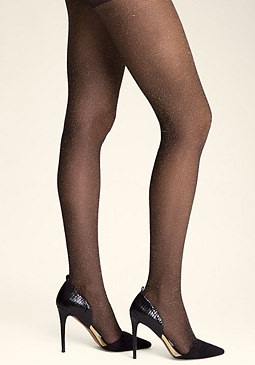 bebe Metallic Fishnet Tights