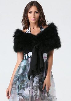 Tie Front Feather Collar