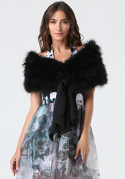 Tie Front Feather Collar at bebe