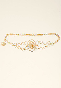 bebe Lion Knocker Chain Belt