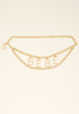 bebe Logo Chain Belt