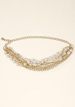 bebe Pearl & Chain Belt