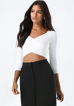 bebe 3/4 Sleeve Wrap Crop Top