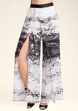 bebe Wide Leg Front Slit Pants