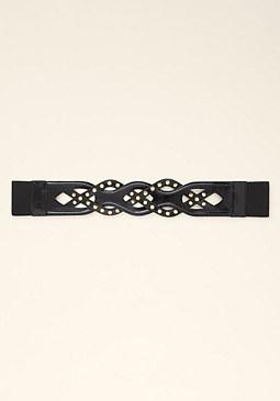 bebe Studded Woven Patent Belt