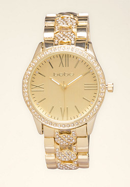 bebe Chainlink & Crystal Watch