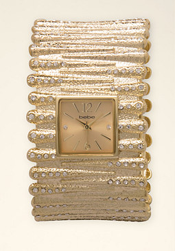 bebe Rhinestone Cuff Watch