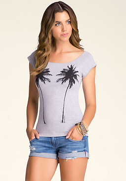 bebe Palm Tree Merrow Edge Tee