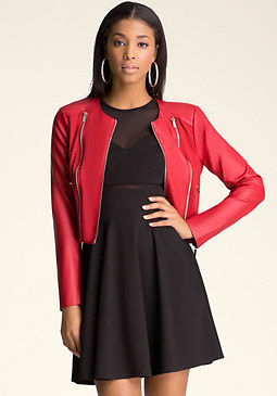 Faux Leather Zip Jacket at bebe
