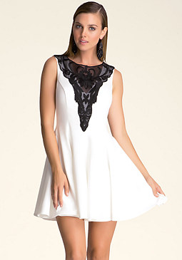 bebe Fit & Flare Lace Dress