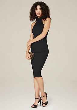 bebe Mock Neck Midi Dress