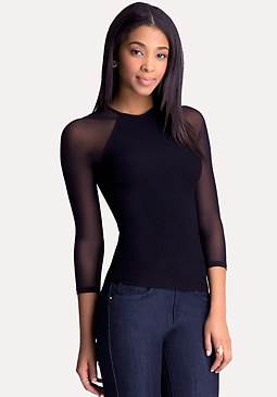 bebe Grace Mesh Sleeve Top