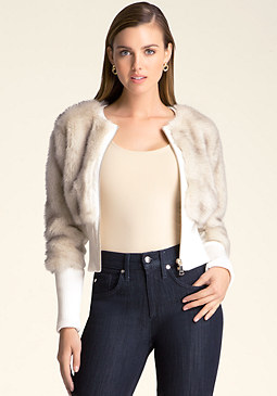 bebe Faux Fur Crop Jacket