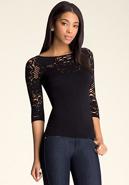 bebe Aliane 3/4 Sleeve Lace Top