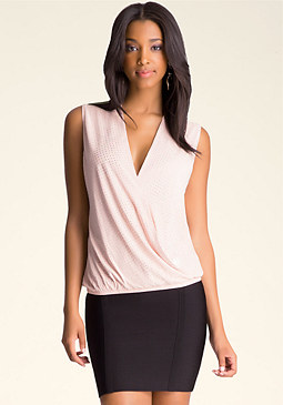 bebe Studded Surplice Top