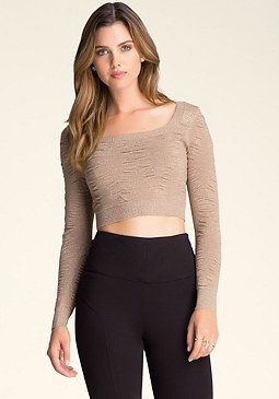 bebe Shirred Crop Sweater