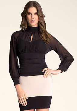 bebe Sheer Ruched Waist Top