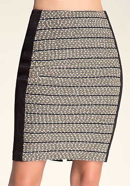 bebe Caroline Tweed Pencil Skirt