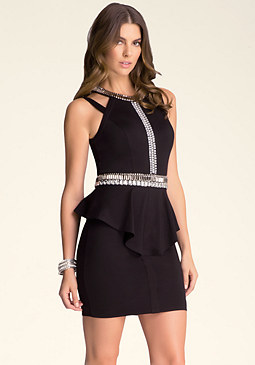 bebe Embellished Peplum Dress
